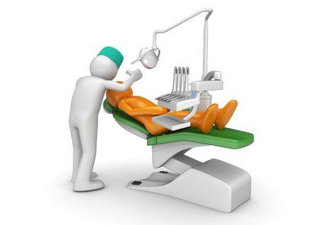 Tand arts en patiënt in tandheelkundige stoel (3d geïsoleerd op een witte achtergrond medische tekens serie)  Stockfoto