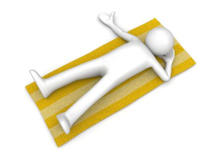 Man lying on a beach towel (3d isolated on white background characters series) Stock Photo