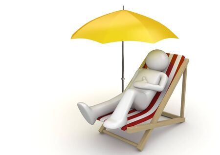Man lying on a beach chair ynder umbrella (3d isolated on white background characters series)