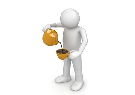 Man pouring cup (3d isolated on white background characters series)