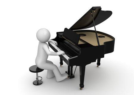 피아니스트 (3d 흰색 배경 문자 시리즈 절연)