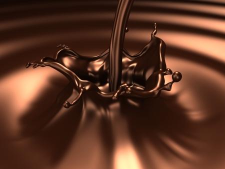 Chocolade splash (3d opmerkelijke abstracte spatten en objecten serie)