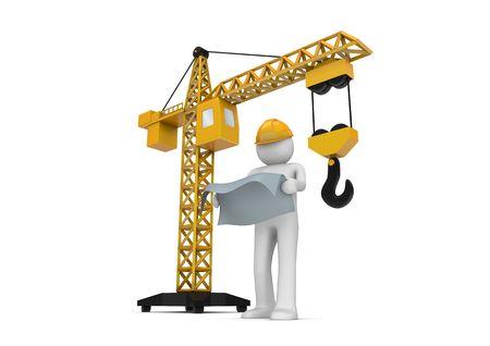 Constructor y grúa (3d aislados en la serie de caracteres de fondo blanco) Foto de archivo - 6689282