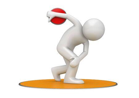 lanzamiento de disco: Discus tirar (3d aislados en la serie de caracteres de deportes de fondo blanco)
