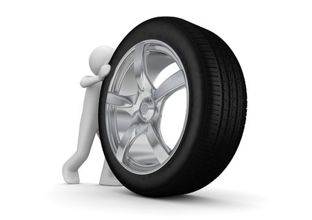 chrome man: Time to change your tyres (3d isolated on white background characters series) Stock Photo