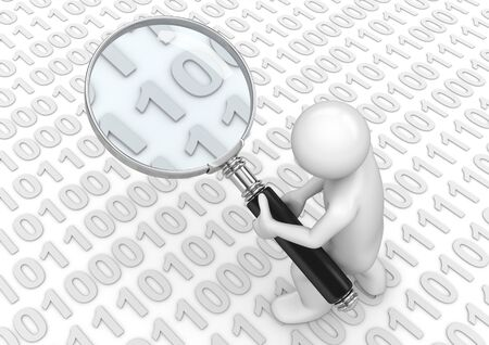 searchengine: Searching for some binary code (3d isolated on white background characters series) Stock Photo