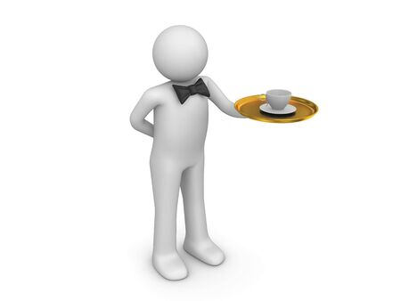 serviteurs: Gar�on � votre service (3d isol�es sur fond blanc s�rie de caract�res)
