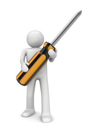 rigger: Man with crosshead screwdriver (3d isolated on white background characters series) Stock Photo