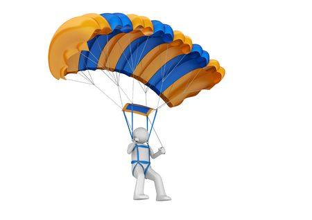 skydiver: Paratrooper (3d isolated on white background characters series) Stock Photo