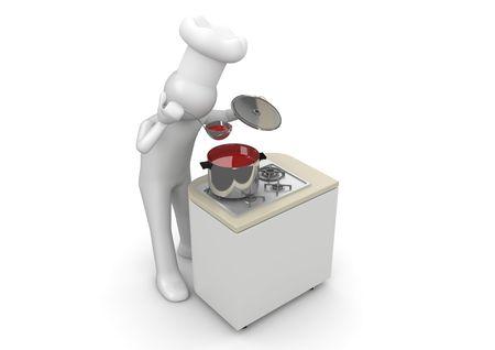 Happy kochen (3d isoliert auf weißem Hintergrund Zeichen Serie) Standard-Bild - 6689271
