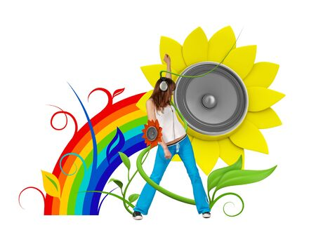 Happy young music fan (attractive young people fresh music floral series) photo