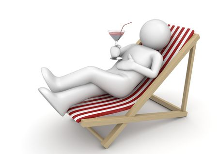 chaise longue: Drinking cocktail on a beach (3d isolated on white background characters series)
