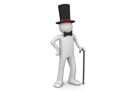 tophat: Gentiluomo  nobile in top hat Walking stick (3d isolato su sfondo bianco serie di caratteri)