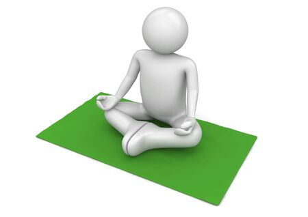 meditation man: Yogi on the green carpet (3d isolated on white background characters series)