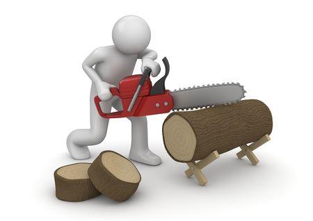 leñador: Leñador en el trabajo (3d aislados en la serie de caracteres de fondo blanco)
