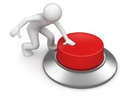 Man op rode noodknop te drukken (3d geïsoleerd op een witte achtergrond tekens serie)