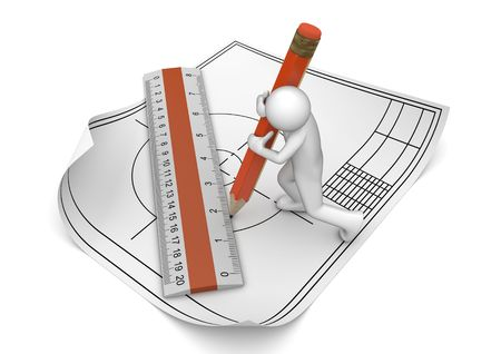 Engineer drawing with pencil and ruler (3d isolated on white background characters series) Stock Photo - 6689286