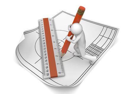 arquitecto: Ingeniero dibujar con el lápiz y el gobernante (3d aislados en la serie de caracteres de fondo blanco)  Foto de archivo
