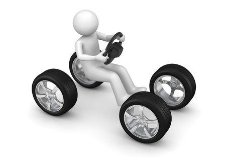Man rijden denkbeeldige auto (3d geïsoleerd op een witte achtergrond tekens serie) Stockfoto