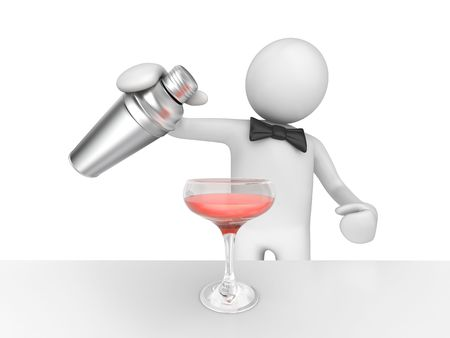 humanoid: Barman pouring your pink cocktail (3d isolated on white background characters series)