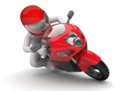 motorbike race: Biker close-up (3d isolated on white background characters series) Stock Photo