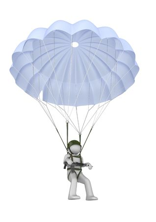 paratrooper: Landing paratrooper with rifle (3d isolated on white background characters series) Stock Photo