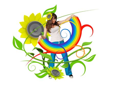 primavera: Rainbow in her arms (attractive young people fresh music floral series) Stock Photo