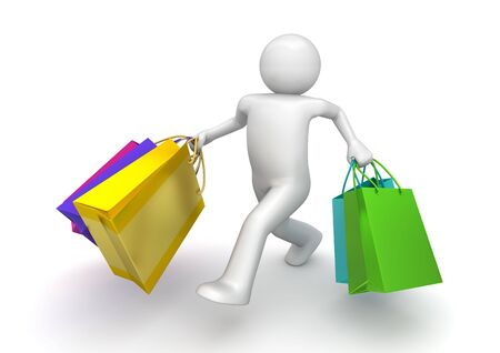 Shopper walking with paper bags (3d isolated on white background characters series) Stok Fotoğraf
