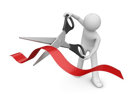 Opening: man cutting red stripe with scissors (3d isolated on white background characters series) Stock Photo