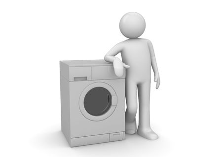man machine: Man leaning on the washer (3d isolated on white background characters series)