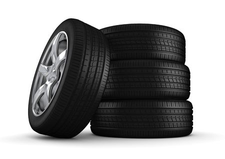 four objects: Four tires isolated close-up (3d isolated on white background objects series) Stock Photo