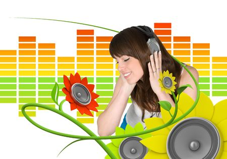 primavera: Happy young music fan (attractive young people fresh music floral series)