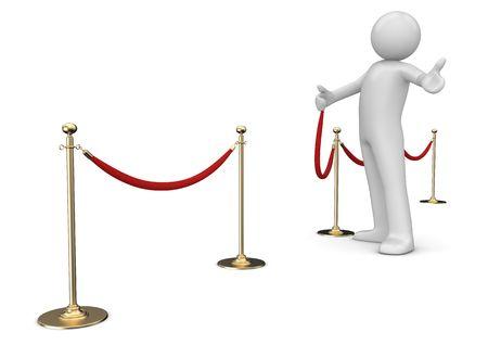 feestelijke opening: Welkom mijn vriend (3d geïsoleerd op een witte achtergrond tekens serie) Stockfoto