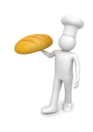 loaf of bread: Baker with long loaf (3d isolated on white background characters series) Stock Photo