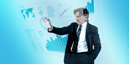 Businessman navigating interface in future (outstanding business people in interiors  interfaces series)