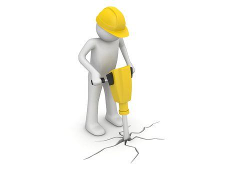 Pre�lufthammer: Arbeitnehmer mit ebnet Schutzschalter (3d isoliert auf wei�em Hintergrund Zeichen Serie)