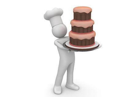 Biiiiiig 케이크 (흰색 배경 3d에 격리 된 문자 시리즈) 스톡 콘텐츠
