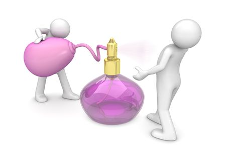 Spraying new fragrance (3d isolated on white background characters series)