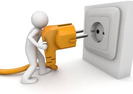 Man netsnoer aansluiten (3d geïsoleerd op witte achtergrond tekens serie)  Stockfoto