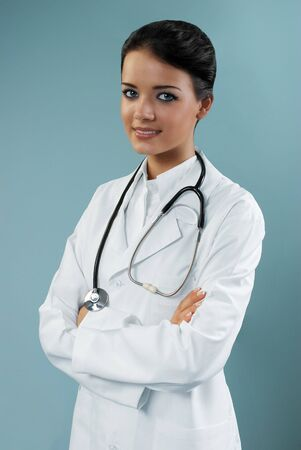 sexy female doctor: Pretty doctor (modern healthcare  medical people in studio series)