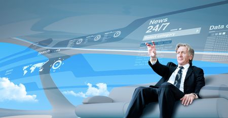 Senior businessman navigating news interface in future (outstanding business people in interiors  interfaces series)
