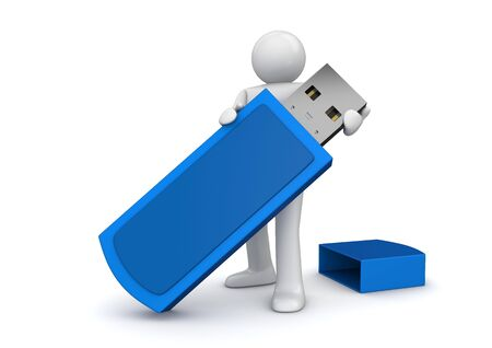 gigabyte: Man with flash drive (3d isolated on white background characters series)