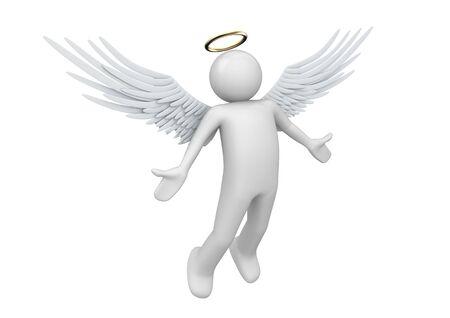 angelo custode: personaggi 3D isolati su sfondo bianco series Archivio Fotografico