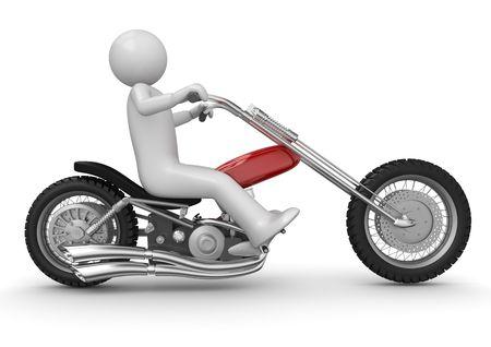 motorcyclist: caracteres 3D aislados en la serie de fondo blanco