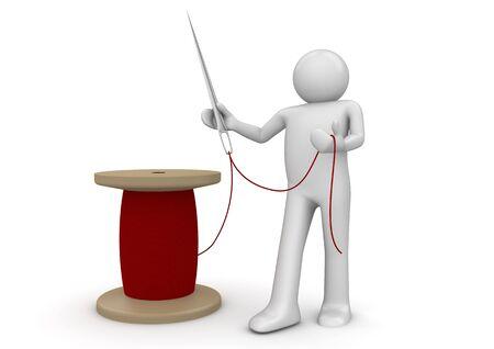 hilo rojo: caracteres 3D aislados en la serie de fondo blanco