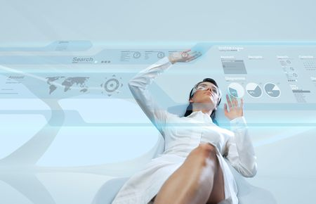 worldmap: Attractive young adults in futuristic interfaces  interiors series