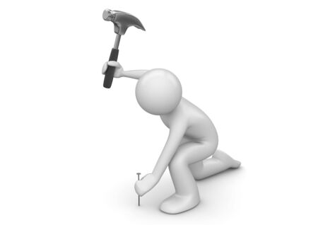 nails: Man hammers in the nail (3d characters isolated on white background series)  Stock Photo