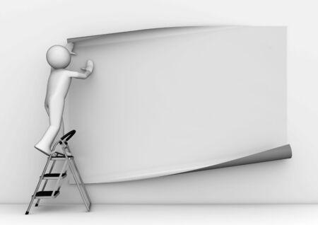 pegamento: personajes 3D aislados en la serie de fondo blanco