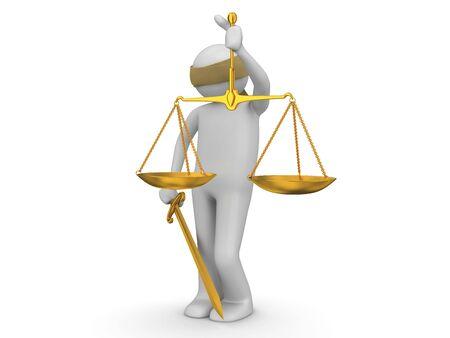 jurisprudencia: personajes 3D aislados en la serie de fondo blanco