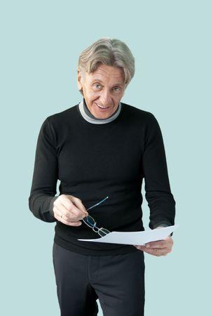 Attractive seniors lifestyle in studio uniform background series photo